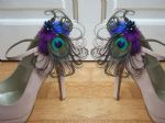 "Bridal Royal Blue Purple and Peacock Feathers ""Allana"" Shoe Clips - Bridal Shoes, Wedding Shoes"